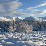 The Cairngorm mountain range in winter