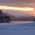 Sunset on a frozen Loch Insh